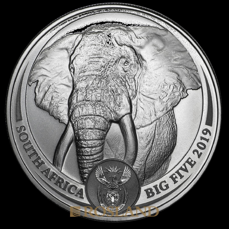 1 Unze Silbermünze Big Five Elefant 2019 (Box, Zertifikat)