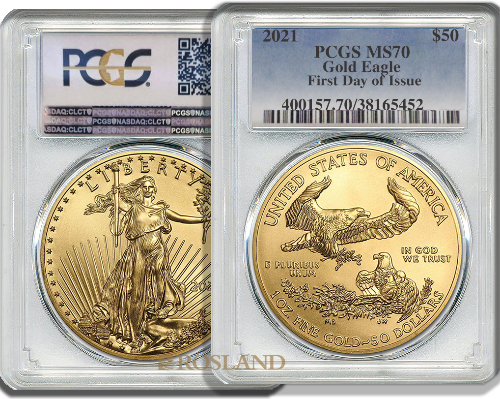 1 Unze Goldmünze American Eagle 2021 PCGS MS-70 First Day