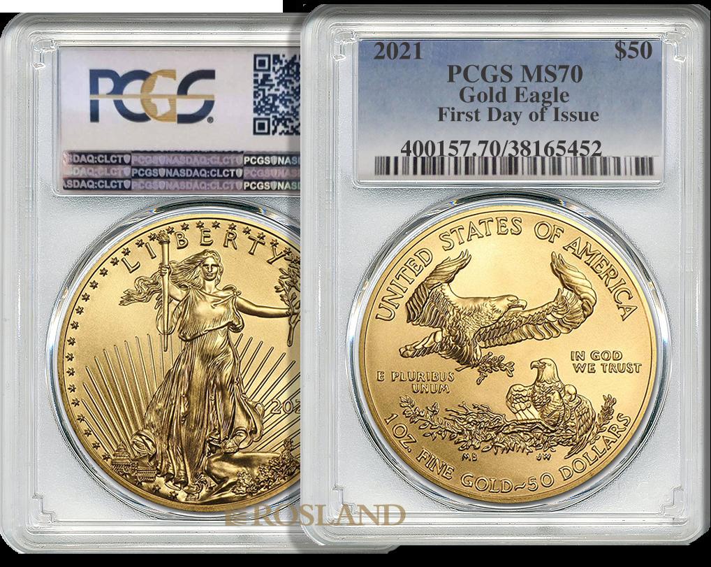 1 Unze Goldmünze American Eagle 2021 PCGS MS-70 First Day