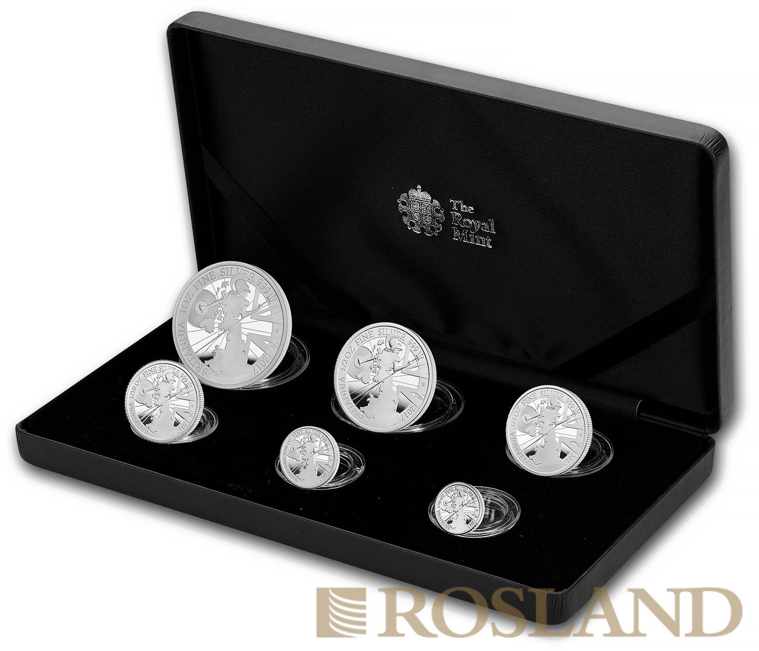 6 Silbermünzen Set Britannia 2017 - 20 Jähriges Jubiläum PP (Box, Zertifikat)