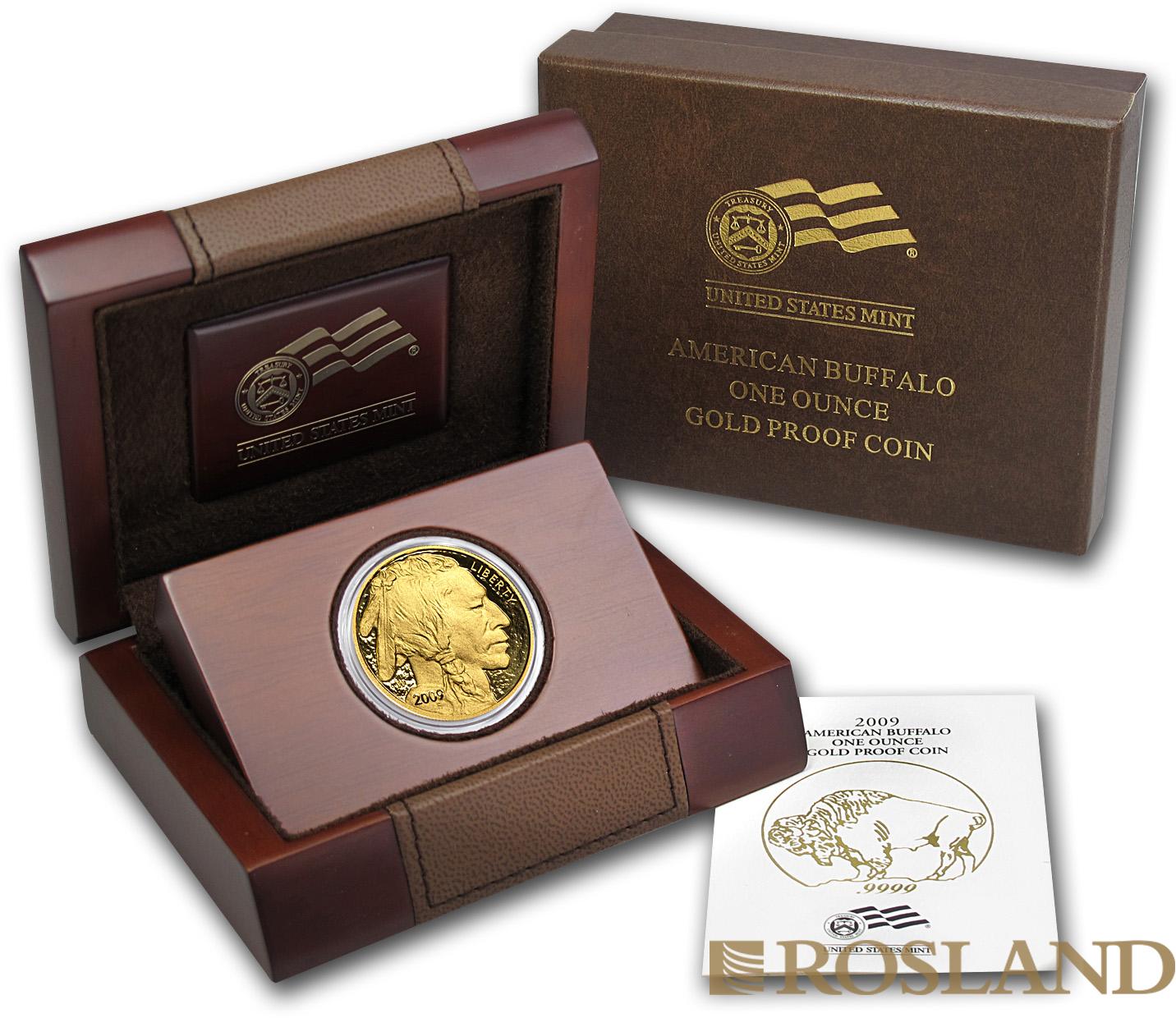 1 Unze Goldmünze American Buffalo 2009 PP (Box, Zertifikat)