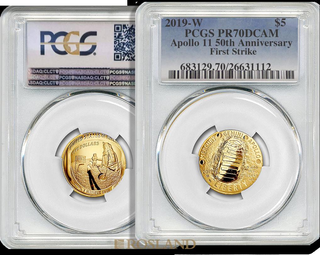 0,24 Unzen Goldmünze Apollo 10 - 50 Jahre Mondlandung 2019 PP PCGS PR-70 (FS, DCAM)