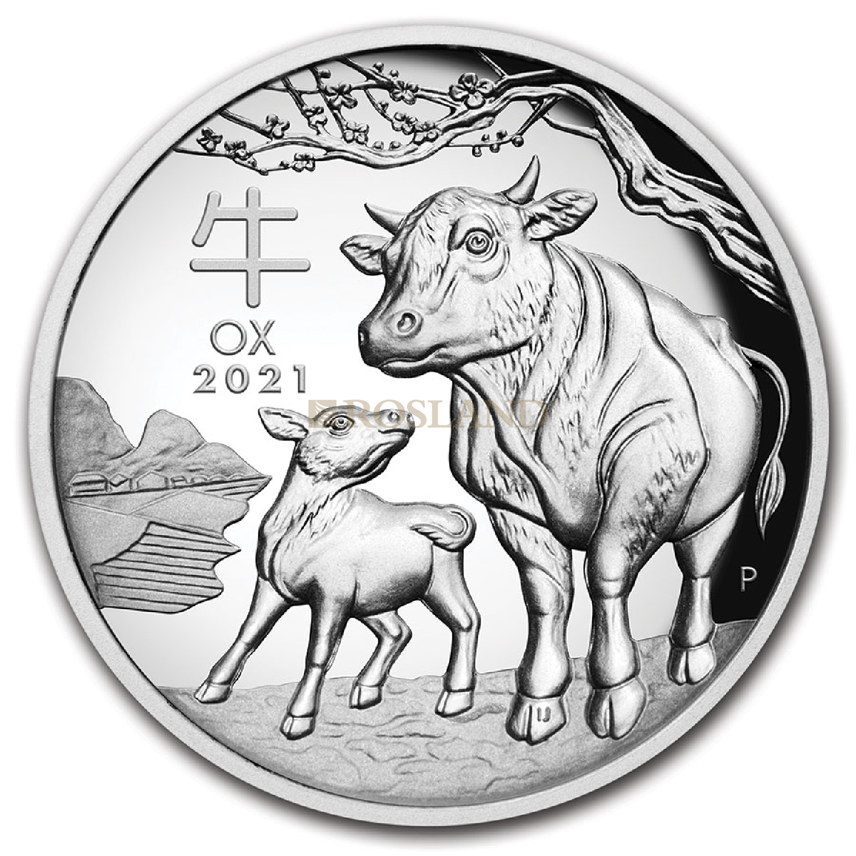 1 Unze Silbermünze Lunar 3 Ochse 2021 PP (HR, Box, Zertifikat)