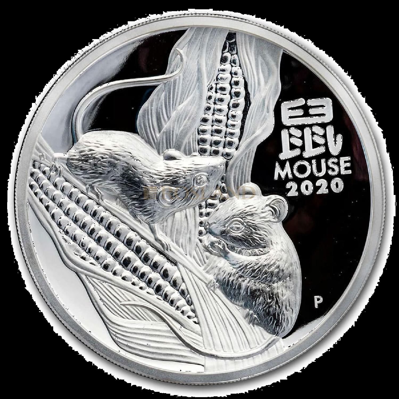 5 Unzen Silbermünze Lunar 3 Maus 2020 PP (HR, Box, Zertifikat)