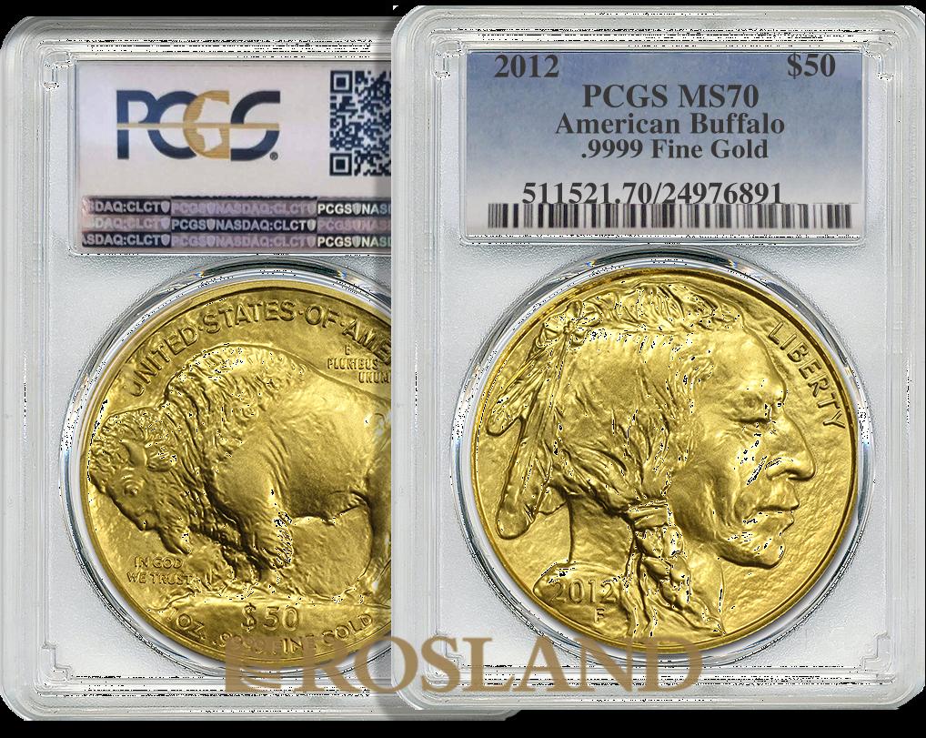 1 Unze Goldmünze American Buffalo 2012 PCGS MS-70