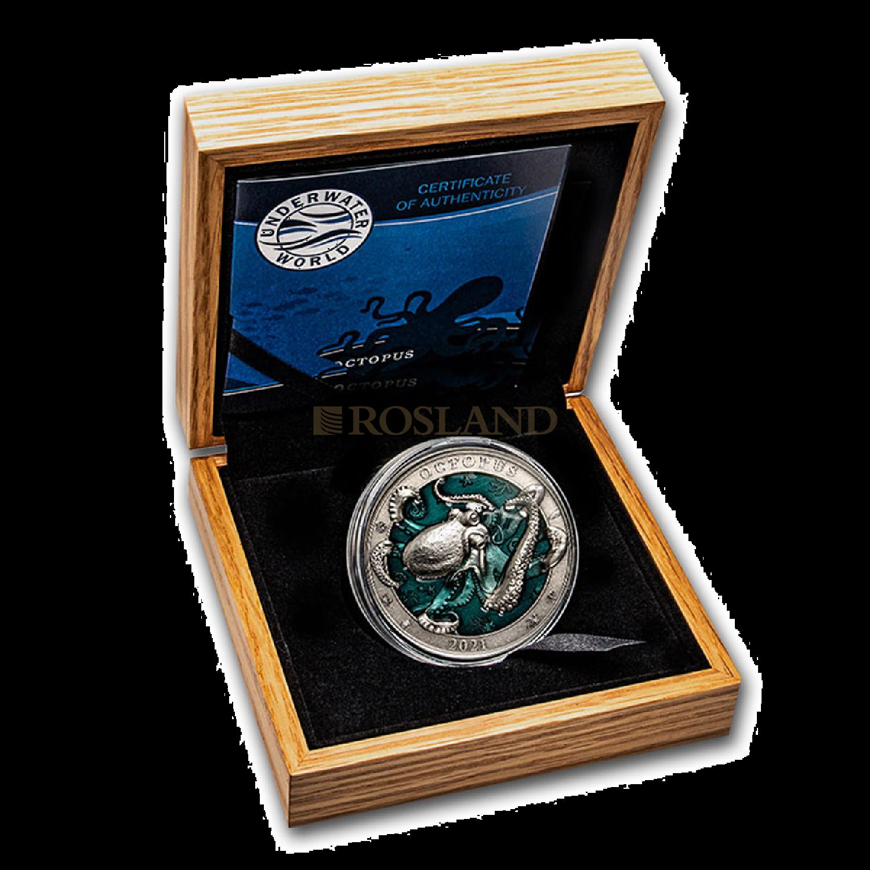 3 Unzen Silbermünze Unterwasserwelt Oktopus 2021 (Antik, Box, Zertifikat)