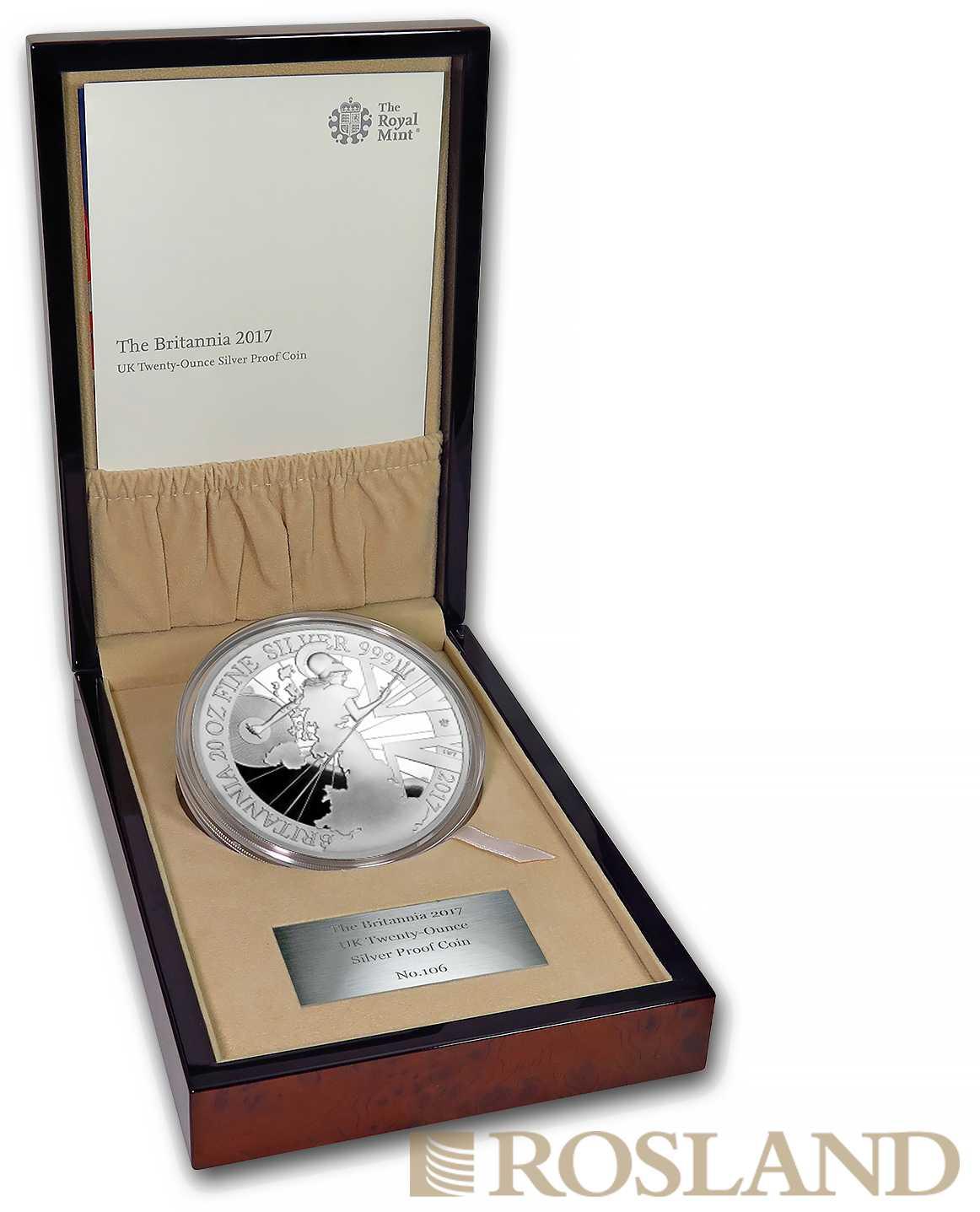 20 Unzen Silbermünze Britannia 2017 PP (Box, Zertifikat)