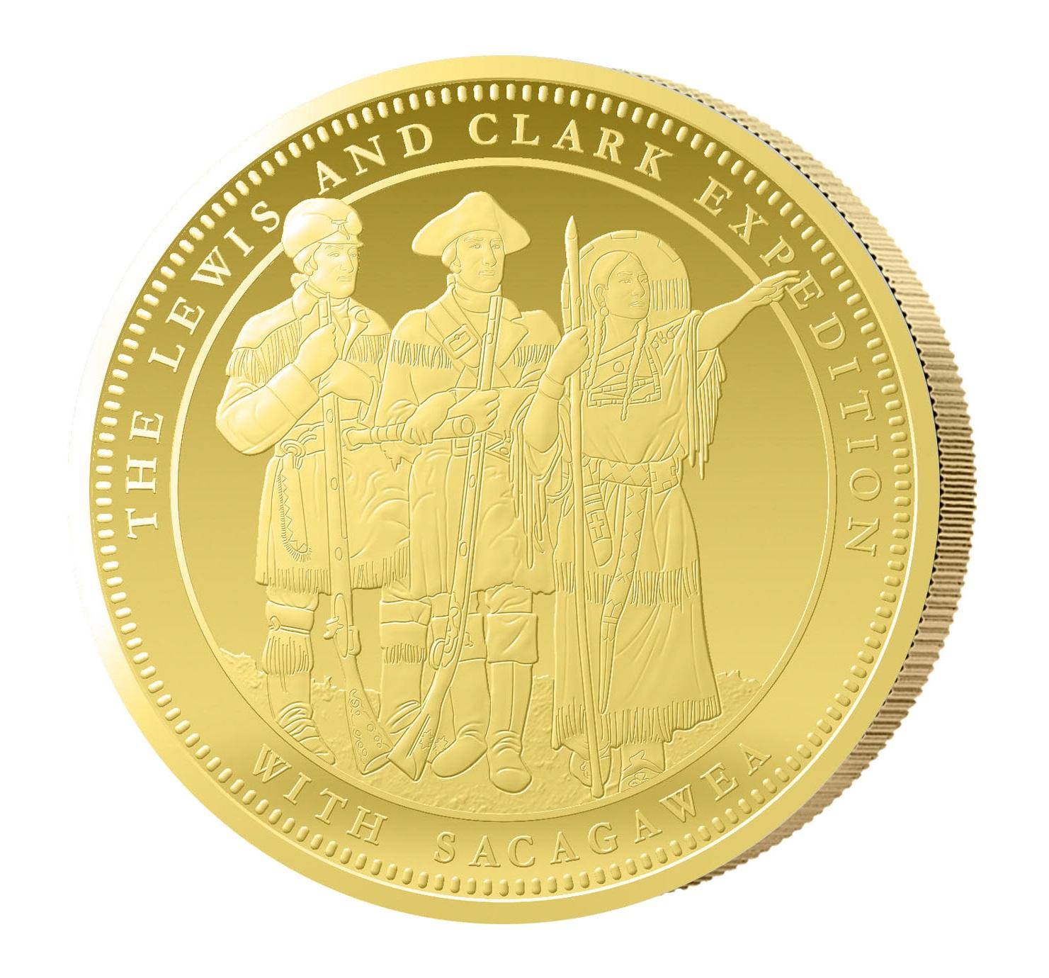 1 Unze Goldmünze Lewis, Clark & Sacagewea 2015 PP