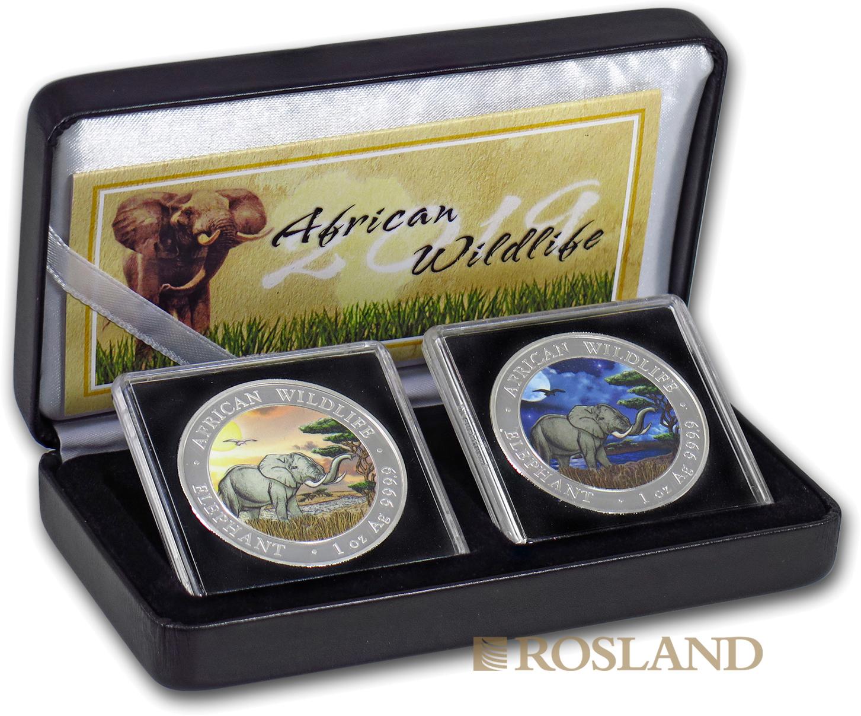 2 Silbermünzen Set Somalia Elefant Tag und Nacht 2019 (Box, Zertifikat, Koloriert)