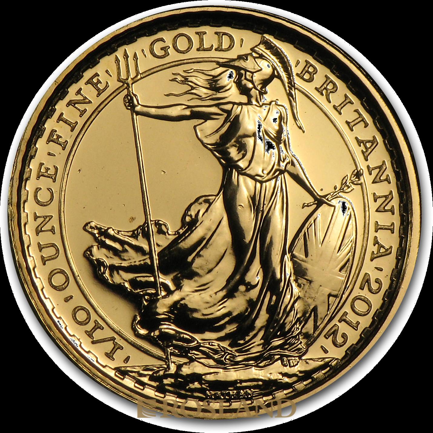 1/10 Unze Goldmünze Britannia 2013 - 25 Jahre Jubiläum