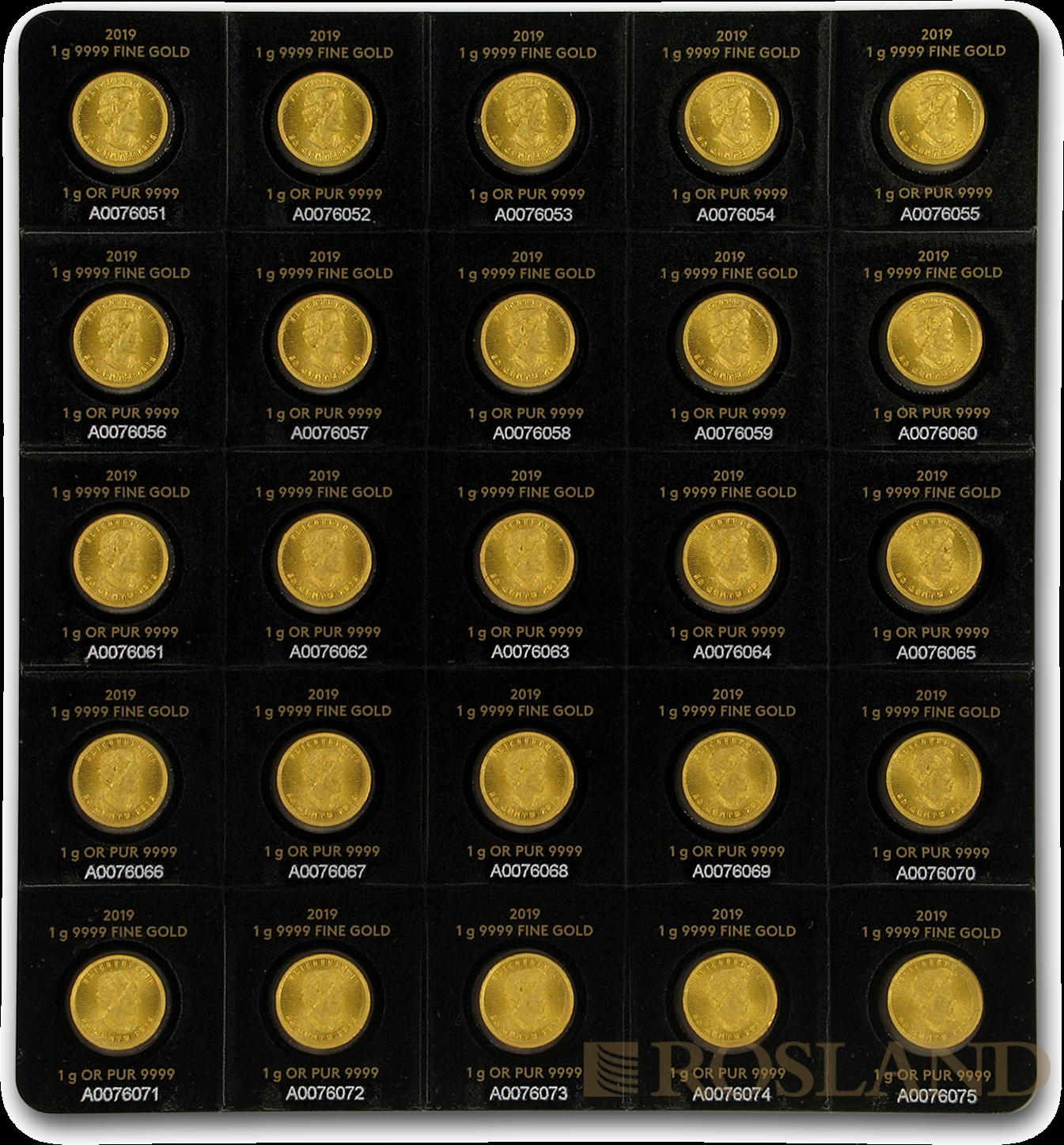 25x1 Gramm Goldmünze Maple Leaf 2019 (Maplegram25™)