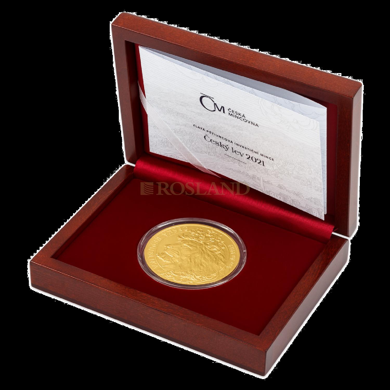 5 Unzen Goldmünze Tschechischer Löwe 2021 (Box, Zertifikat)