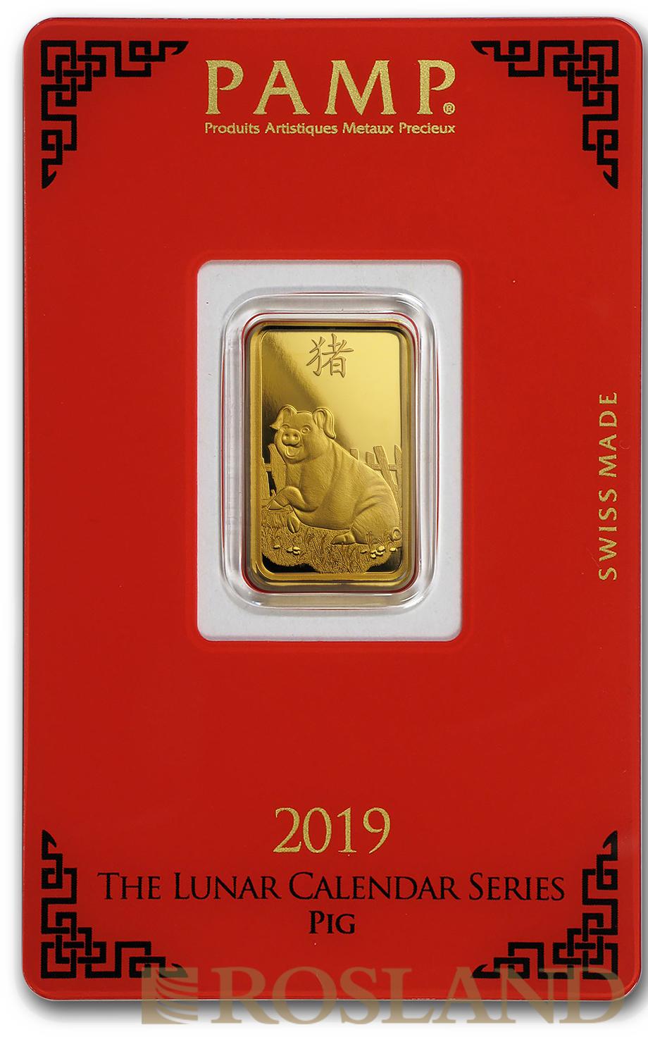 5 Gramm Goldbarren PAMP Lunar Jahr des Schweins 2019