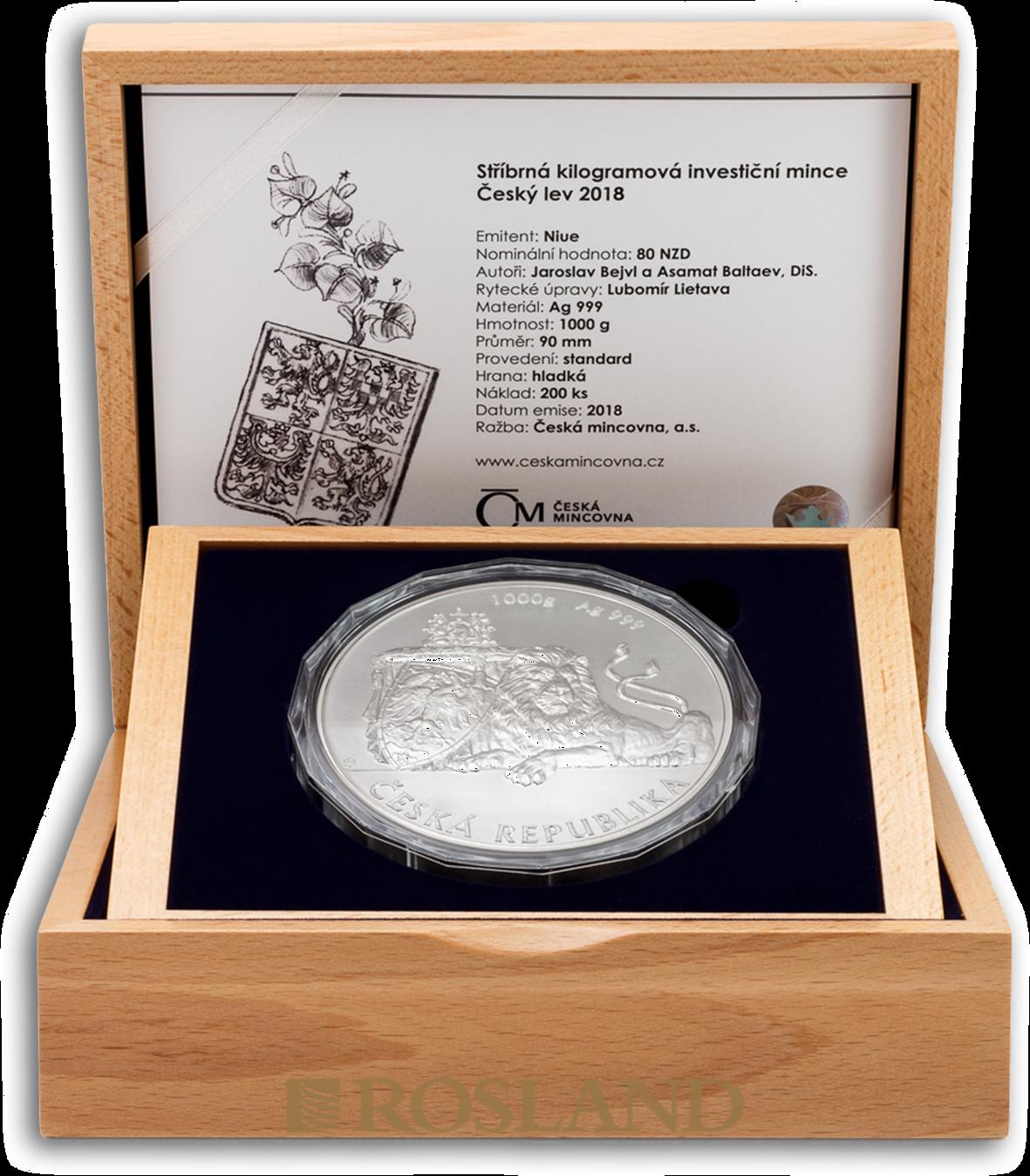 1 Kilogramm Silbermünze Tschechischer Löwe 2018
