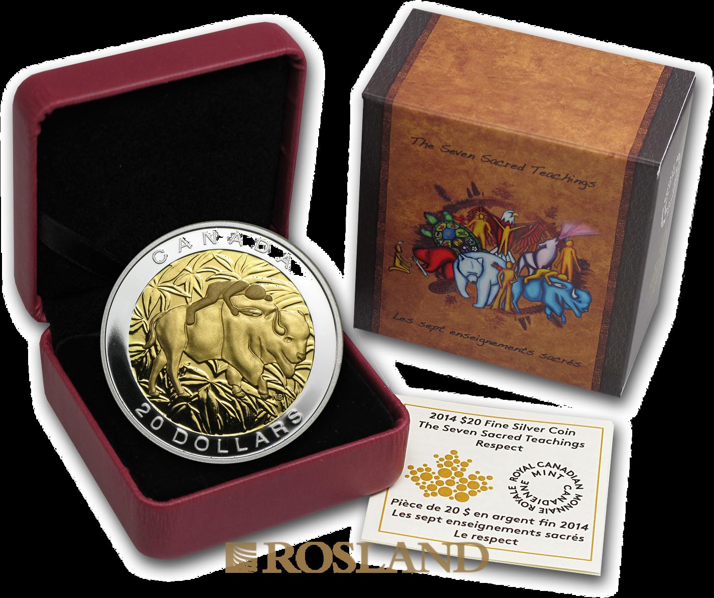 1 Unze Silbermünze The Seven Sacred Teachings Respect 2014 PP (Box, Zertifikat)