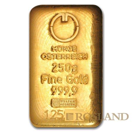 250 Gramm Goldbarren Münze Österreich (Gussbarren)