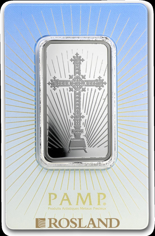 1 Unze Silberbarren PAMP Religion - Römisches Kreuz