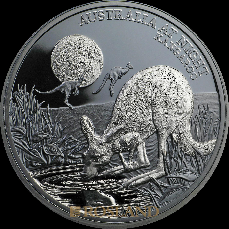 1 Unze Silbermünze Känguru - Australien bei Nacht 2019 PP (Box, Zertifikat)
