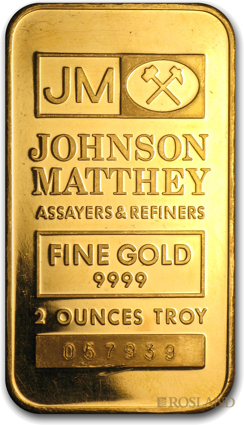 2 Unzen Johnson Matthey Goldbarren