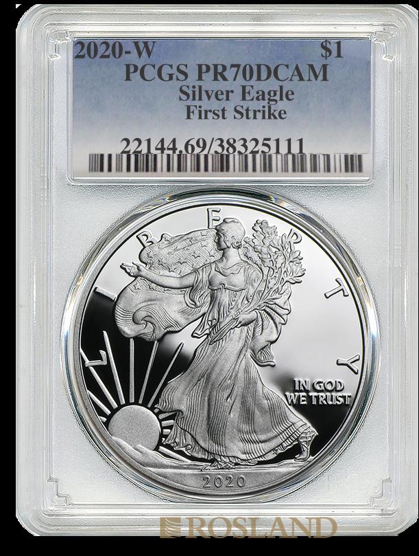 1 Unze Silbermünze American Eagle 2020 (W) PP PCGS PR-70 (FS, DCAM)