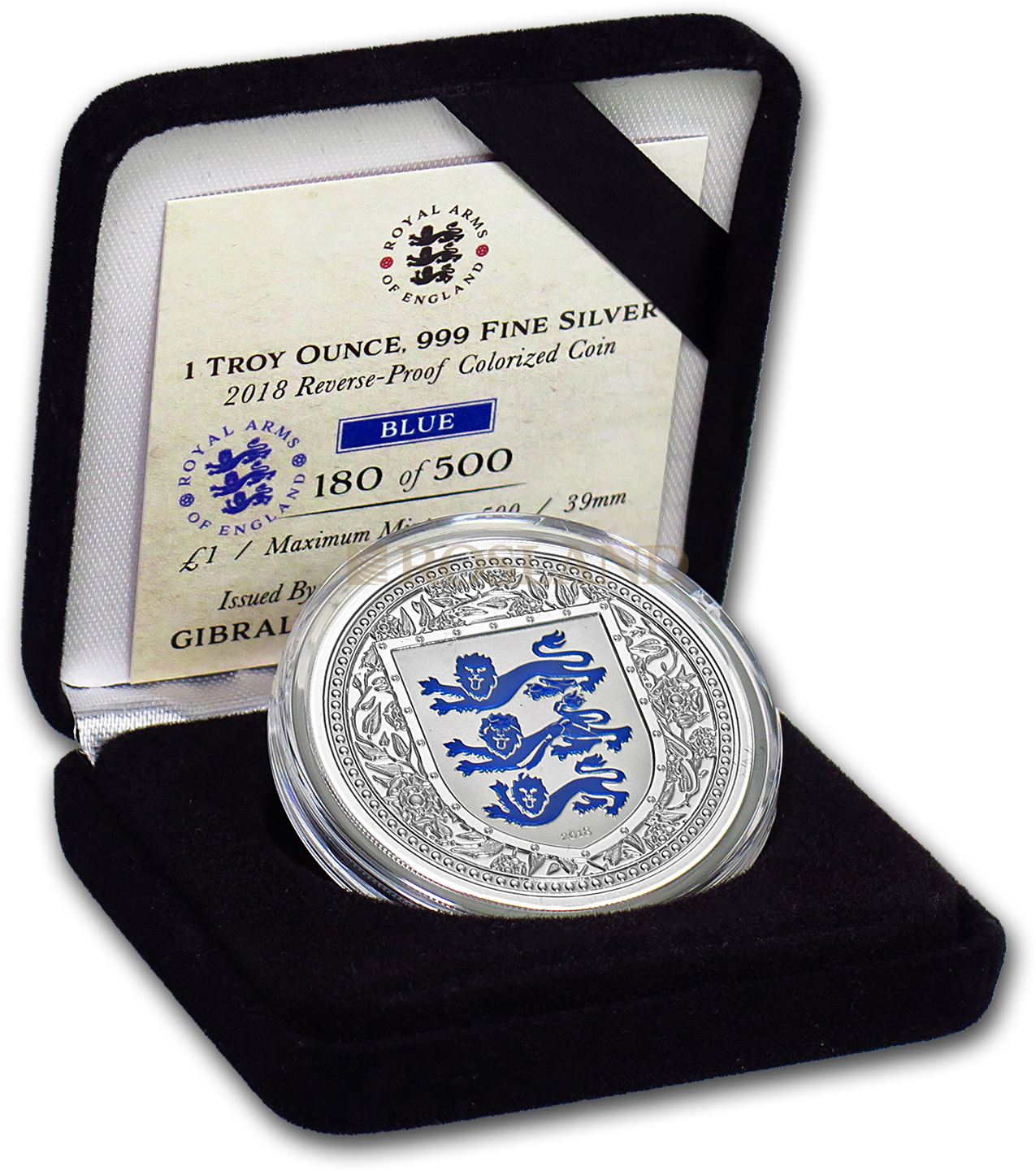1 Unze Silbermünze Royal Arms of England 2018 PP (Blau, Box, Zertifikat)