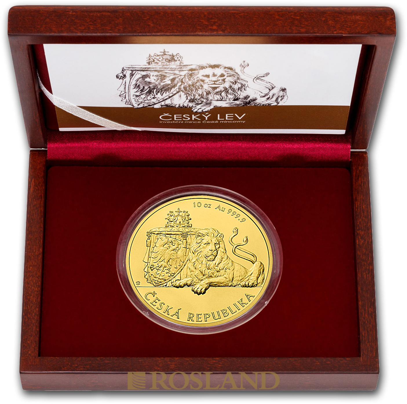 10 Unzen Goldmünze Tschechischer Löwe 2018 (Box, Zertifikat)