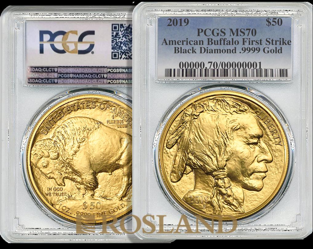 1 Unze Goldmünze American Buffalo 2019 Black Diamond PCGS MS-70 (FS)
