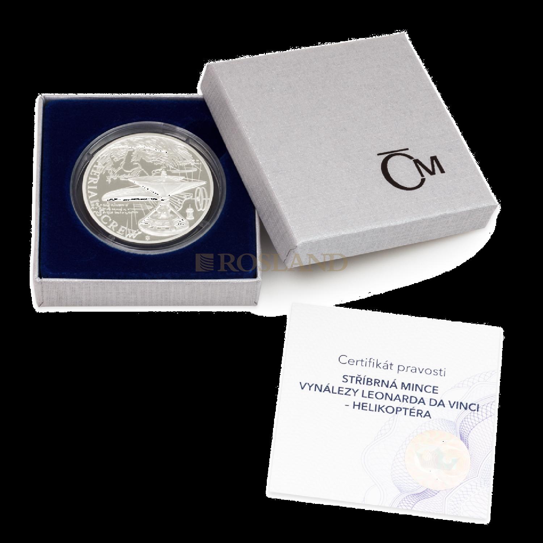 1 Unze Silbermünze Niue 500 Jahre Leonardo Da Vinci - Hubschrauber 2019 PP (Box, Zertifikat)