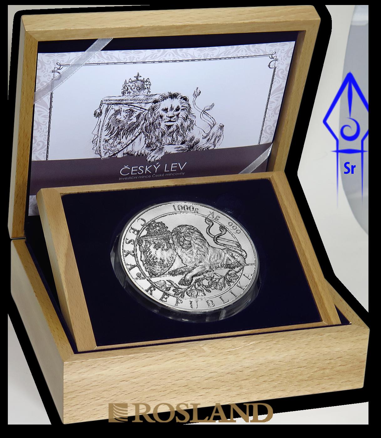 1 Kilogramm Silbermünze Tschechischer Löwe 2019