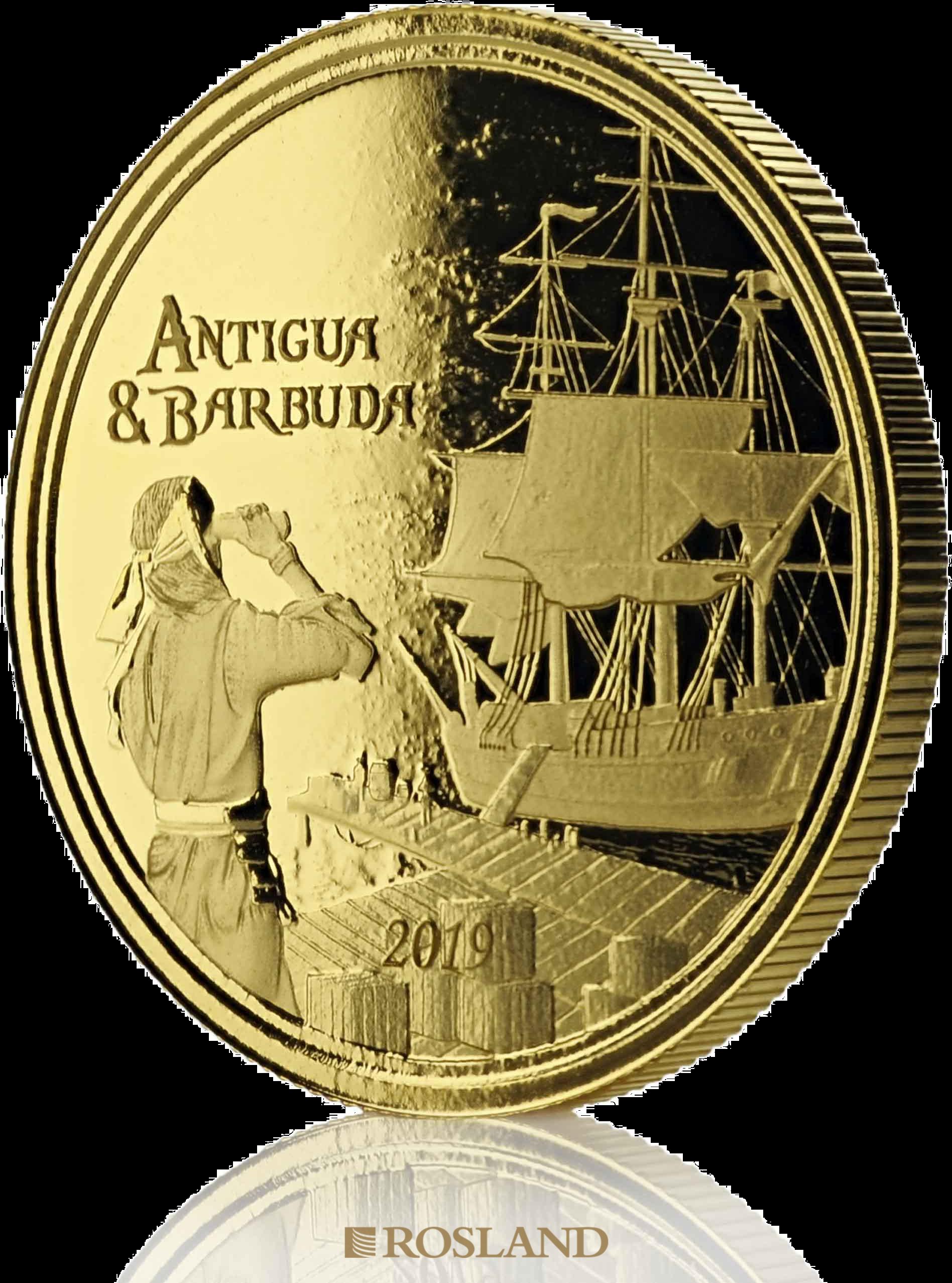 1 Unze Goldmünze EC8 Antigua & Barbuda Rum Runner 2019 (Blister, Zertifikat)