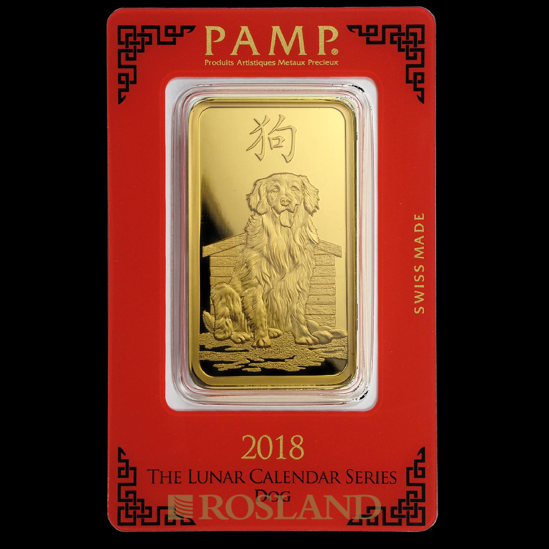 100 Gramm Goldbarren PAMP Lunar Jahr des Hundes 2018