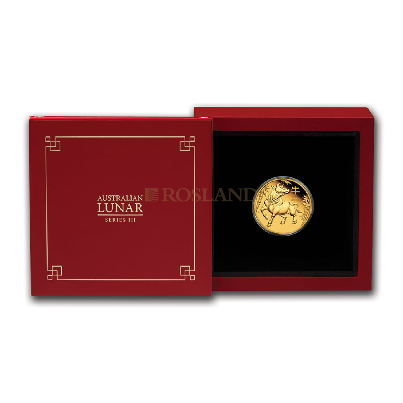 1/4 Unze Goldmünze Lunar 3 Ochse 2021 PP (Box, Zertifikat)