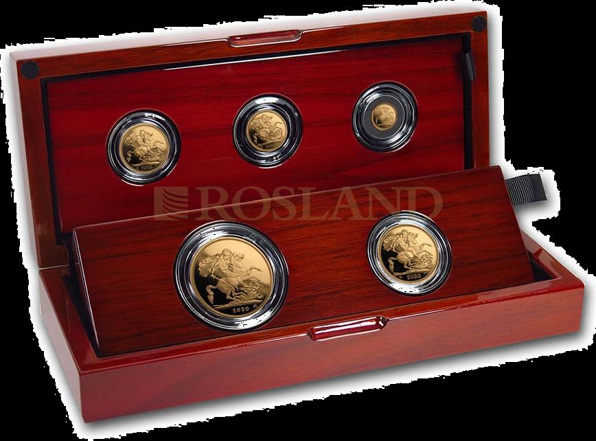2,059 Unzen - 5 Goldmünzen Set Großbritannien 2020 PP (Box, Zertifikat)