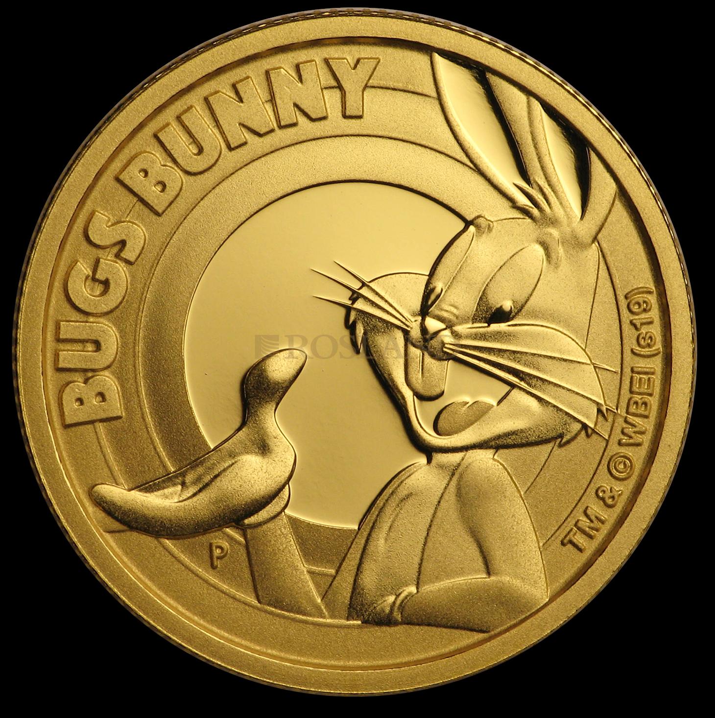 1/4 Unze Goldmünze Tuvalu Looney Tunes - Bugs Bunny 2019 PP (Box, Zertifikat)