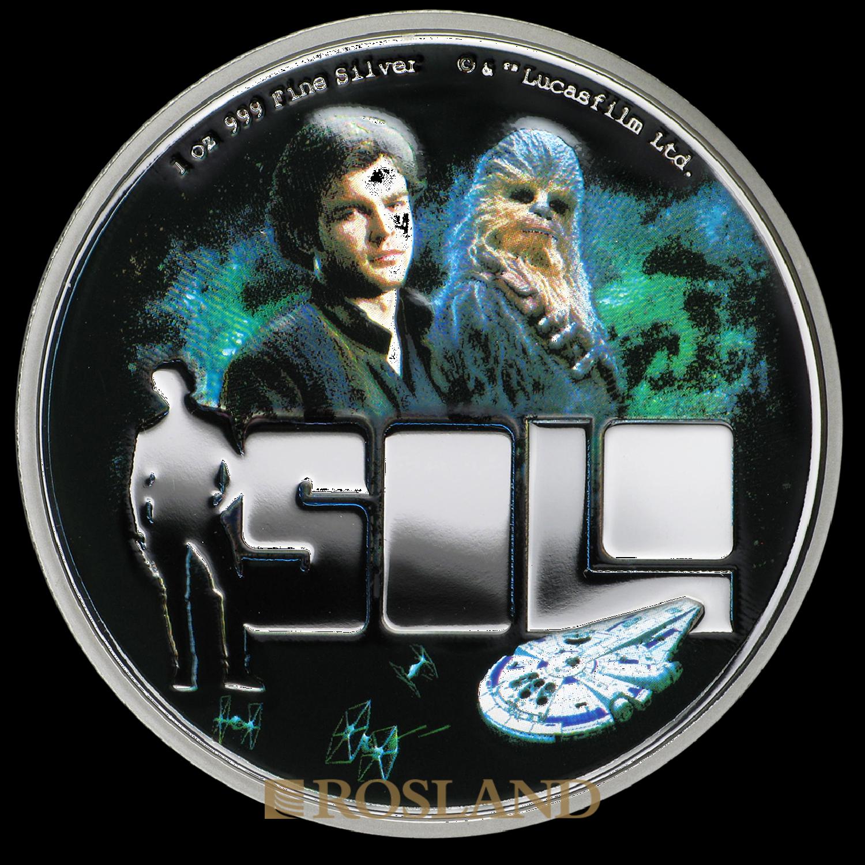 1 Unze Silbermünze Star Wars™ Solo: Star Wars Story 2018 PP (Koloriert, Box, Zertifikat)