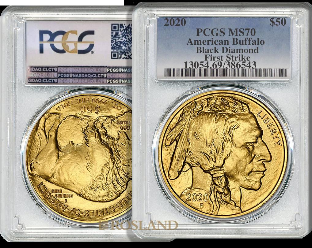 1 Unze Goldmünze American Buffalo 2020 PCGS MS-70 (Black Diamond, FS)