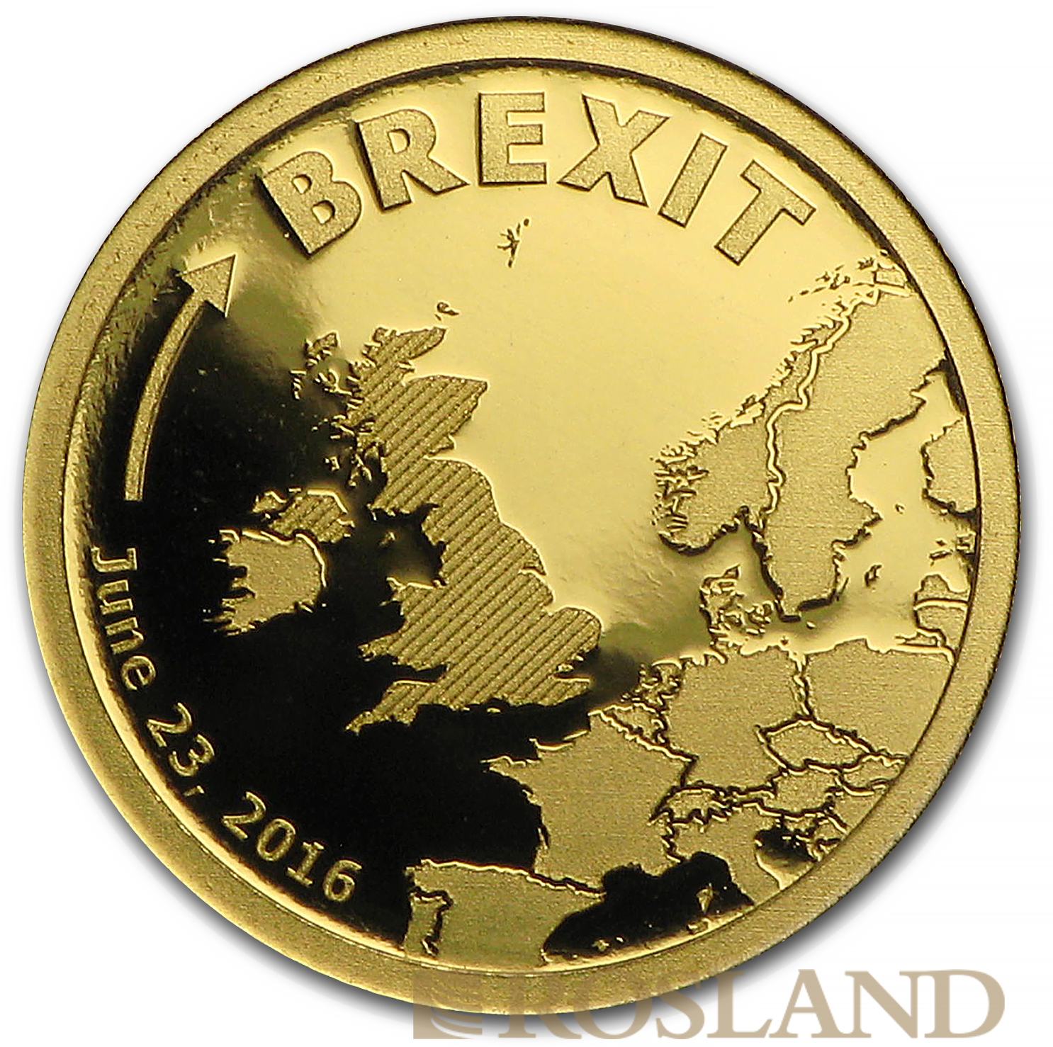 0,5 Gramm Goldmünze Cook Islands Brexit 2016 PP