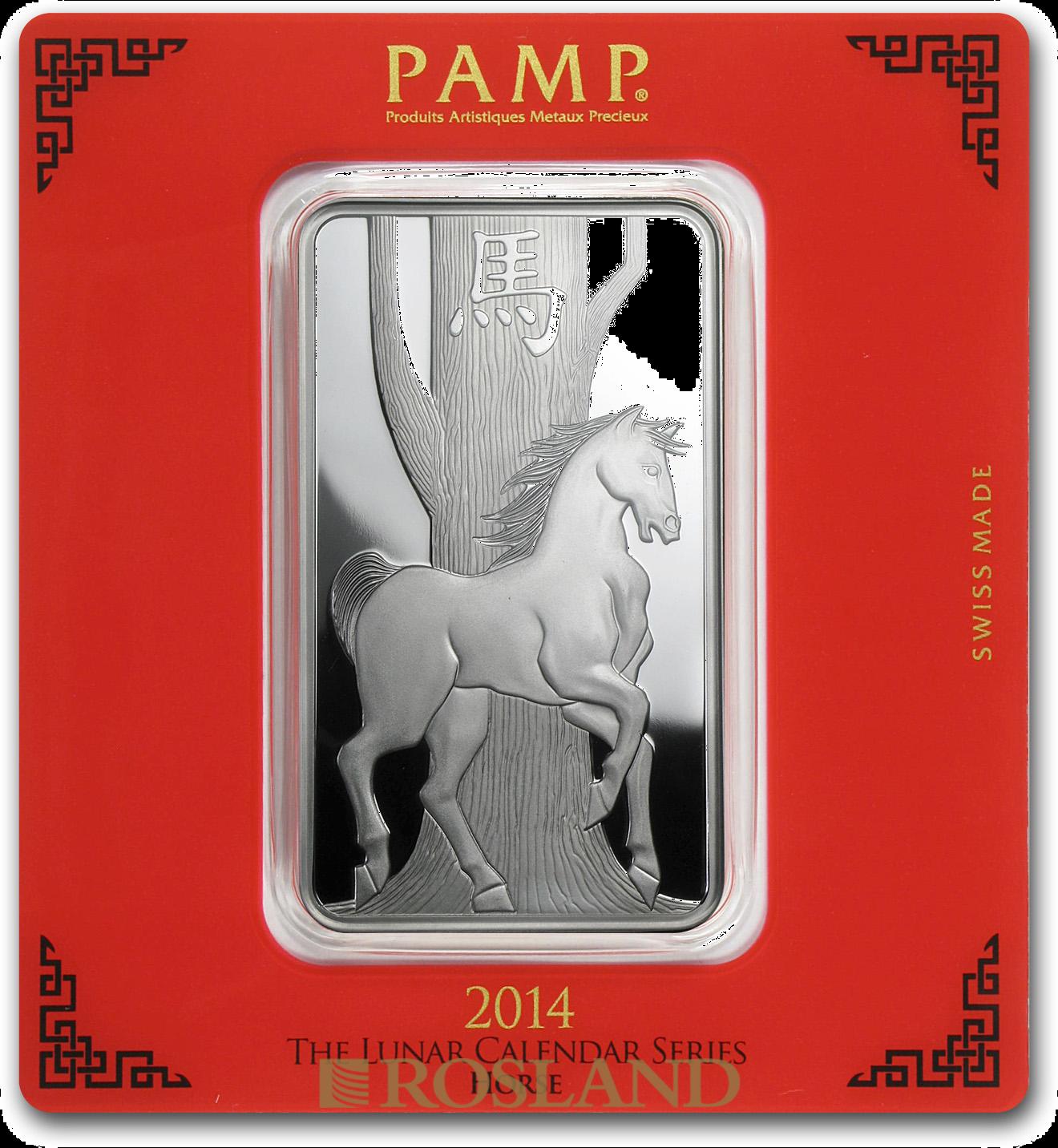 100 Gramm Silberbarren PAMP Lunar Jahr des Pferds 2014