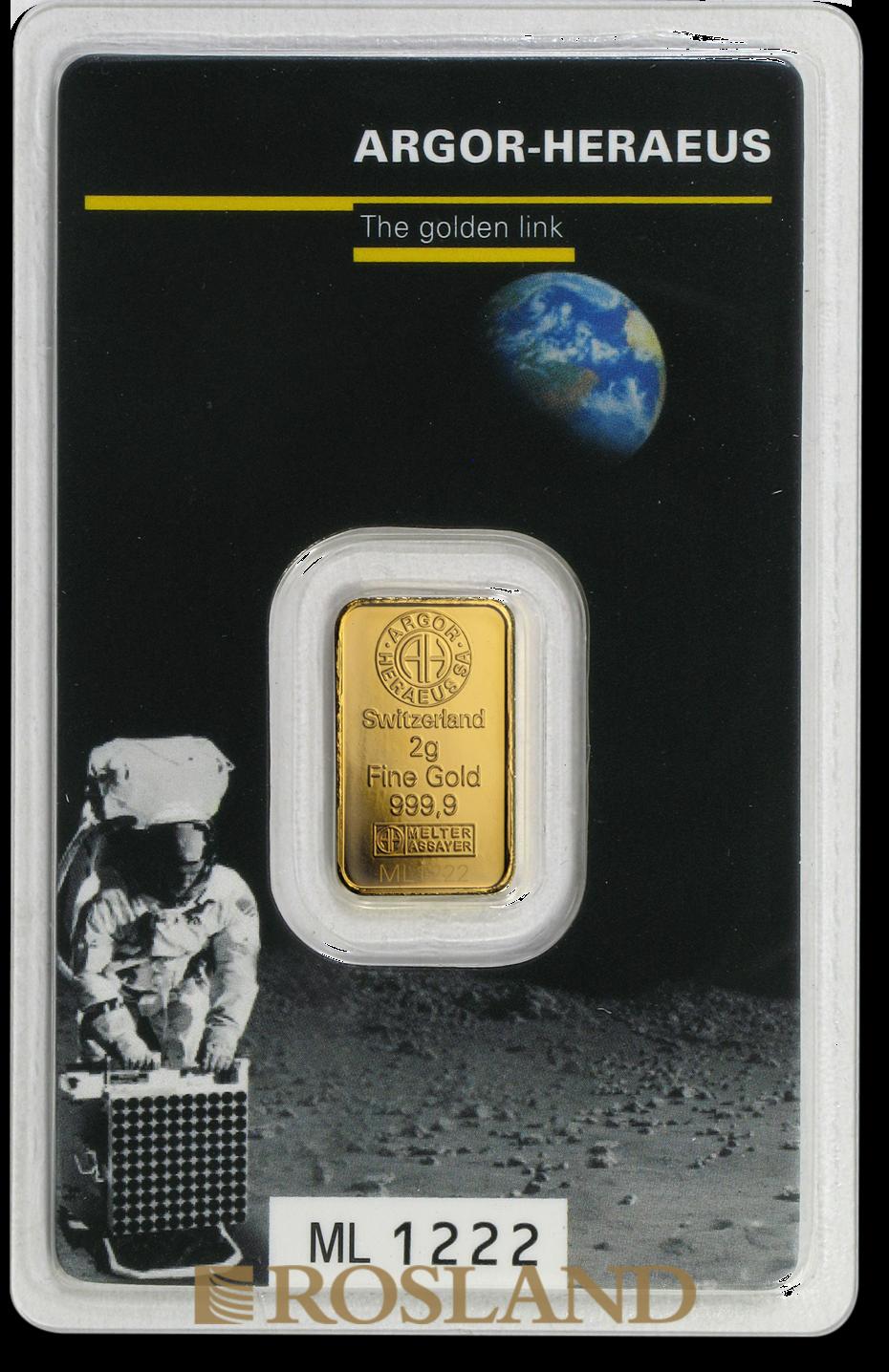 2 Gramm Goldbarren Heraeus Argor Apollo 11 Mondlandung