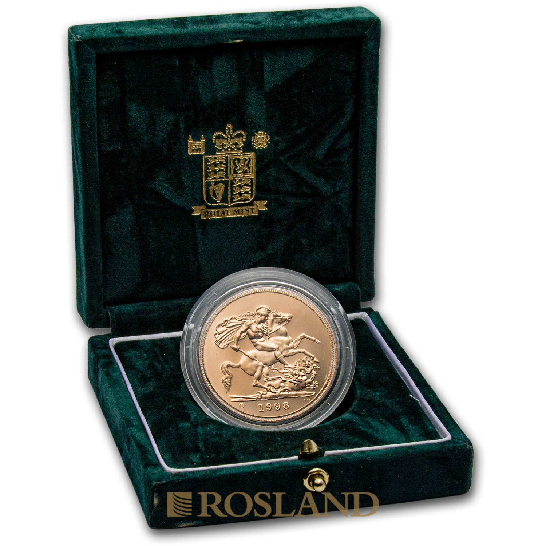 5 Sovereign Goldmünze Großbritannien 1998 (Box, Zertifikat)
