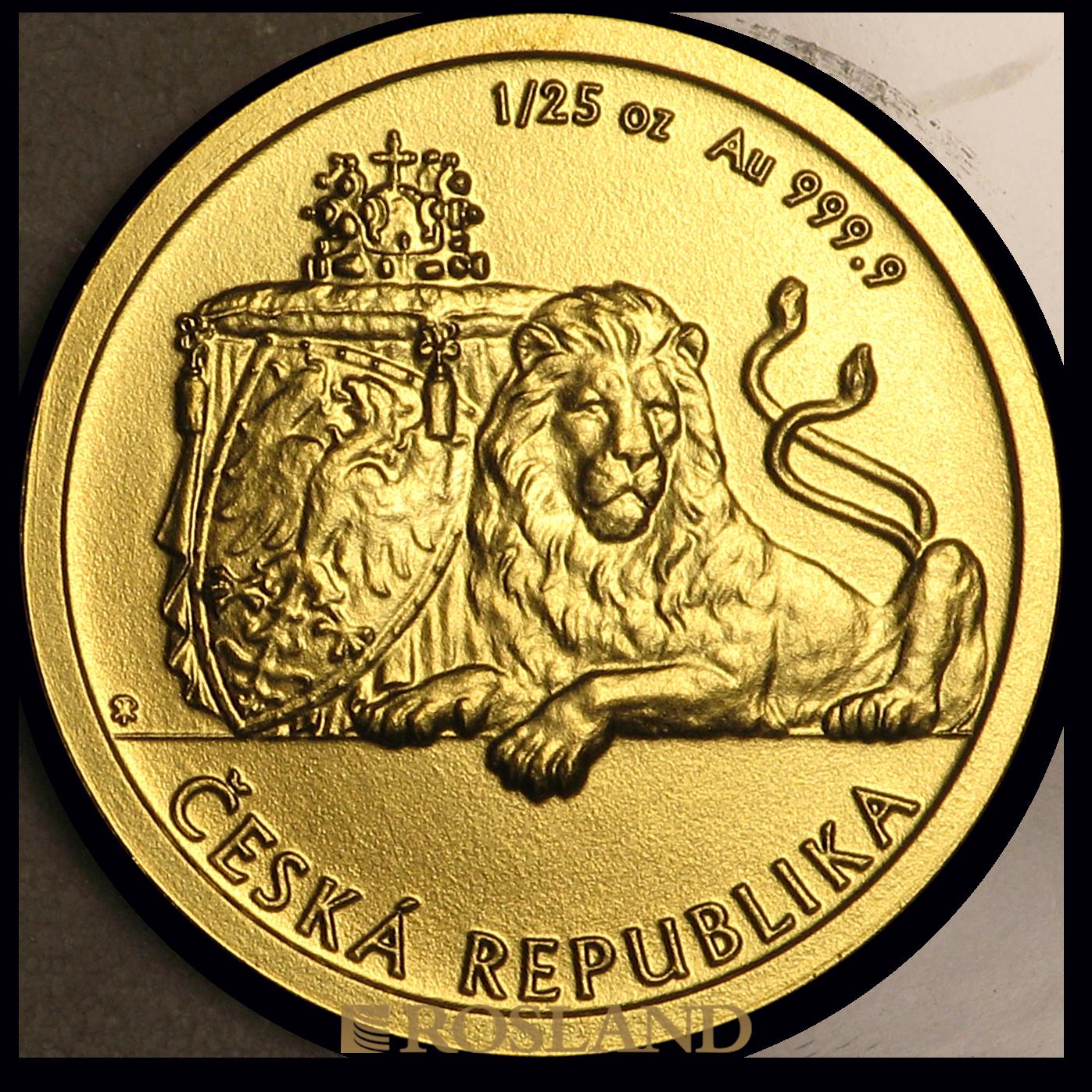 1/25 Unzen Goldmünze Tschechischer Löwe 2019