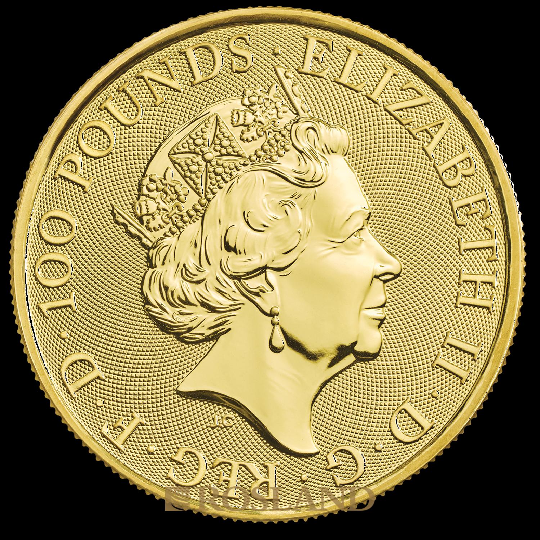 1 Unze Goldmünze Queens Beasts White Lion 2020