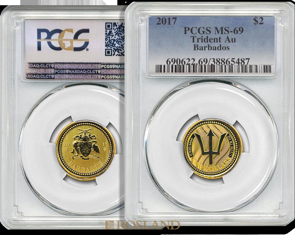 1/5 Unze Goldmünze Barbados Dreizack 2017 PCGS MS-69