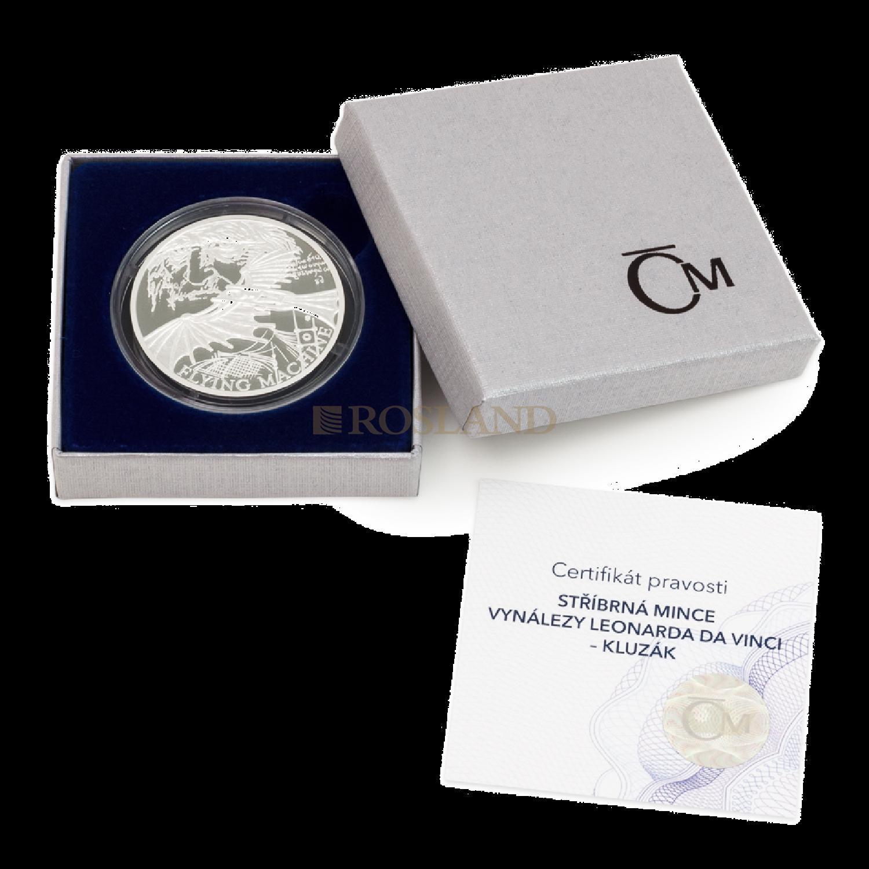 1 Unze Silbermünze Niue 500 Jahre Leonardo Da Vinci - Flugmaschine 2019 PP (Box, Zertifikat)