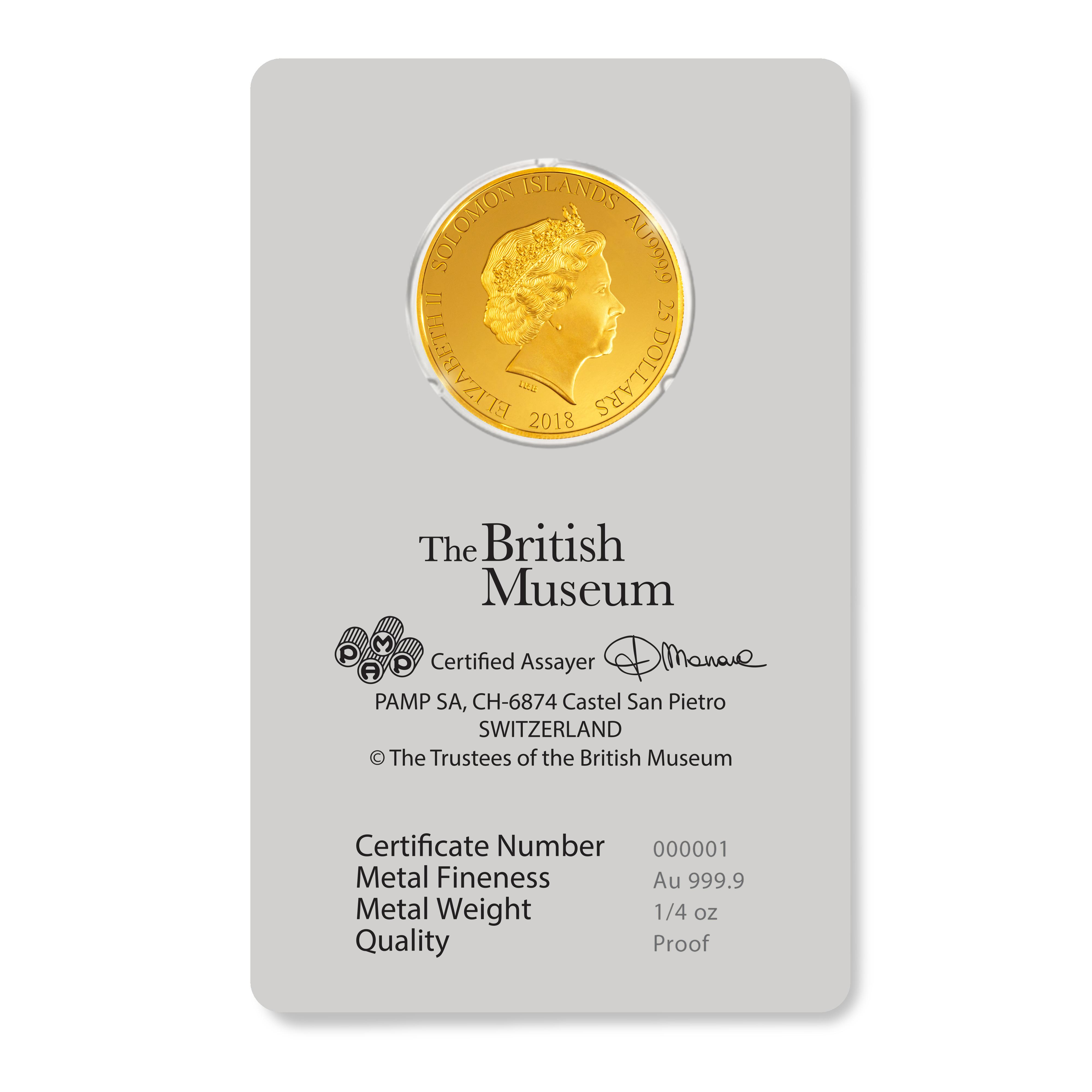 1/4 Unzen Goldmünze PAMP Britisches Museum Gladiator 2018 PP (Box, Zertifikat)