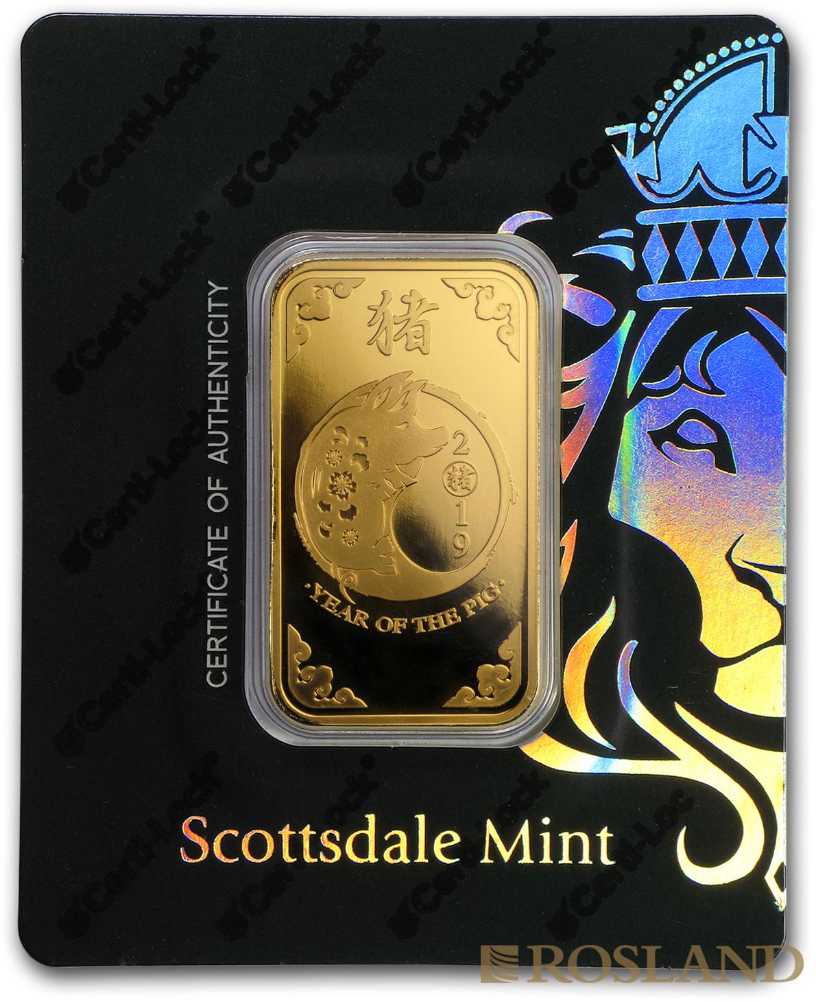 1 Unze Goldbarren Scottsdale Mint Schwein