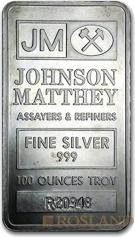 100 Unzen Silberbarren Johnson Matthey (Box, Zertifikat)