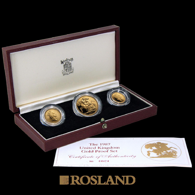 .823 Unzen - 3 Goldmünzen Set Großbritannien 1987 PP (Box, Zertifikat)