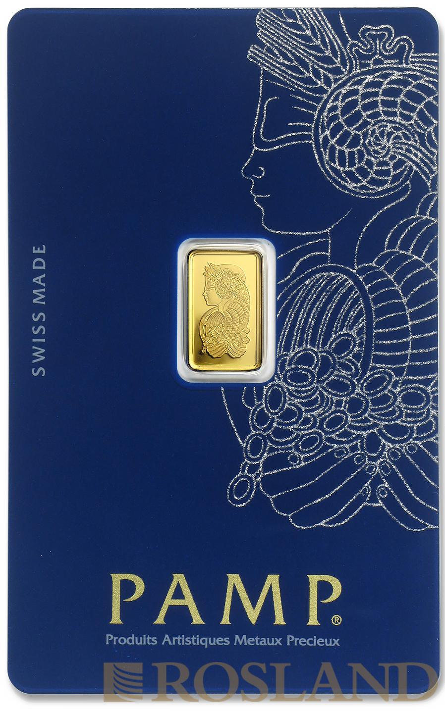1 Gramm Goldbarren PAMP Lady Fortuna Veriscan®