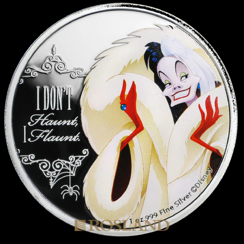 1 Unze Silbermünze Disney© Cruella De Vil 2018 PP (Koloriert, Box, Zertifikat)